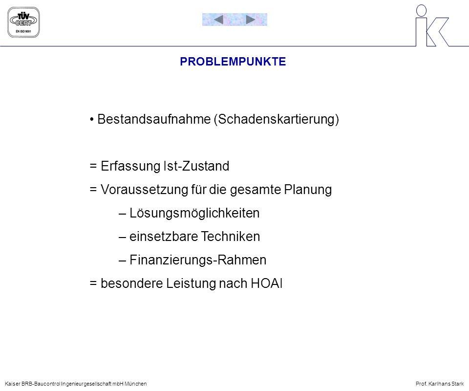 PROBLEMPUNKTE Bestandsaufnahme (Schadenskartierung) = Erfassung Ist-Zustand = Voraussetzung für die gesamte Planung – Lösungsmöglichkeiten – einsetzba