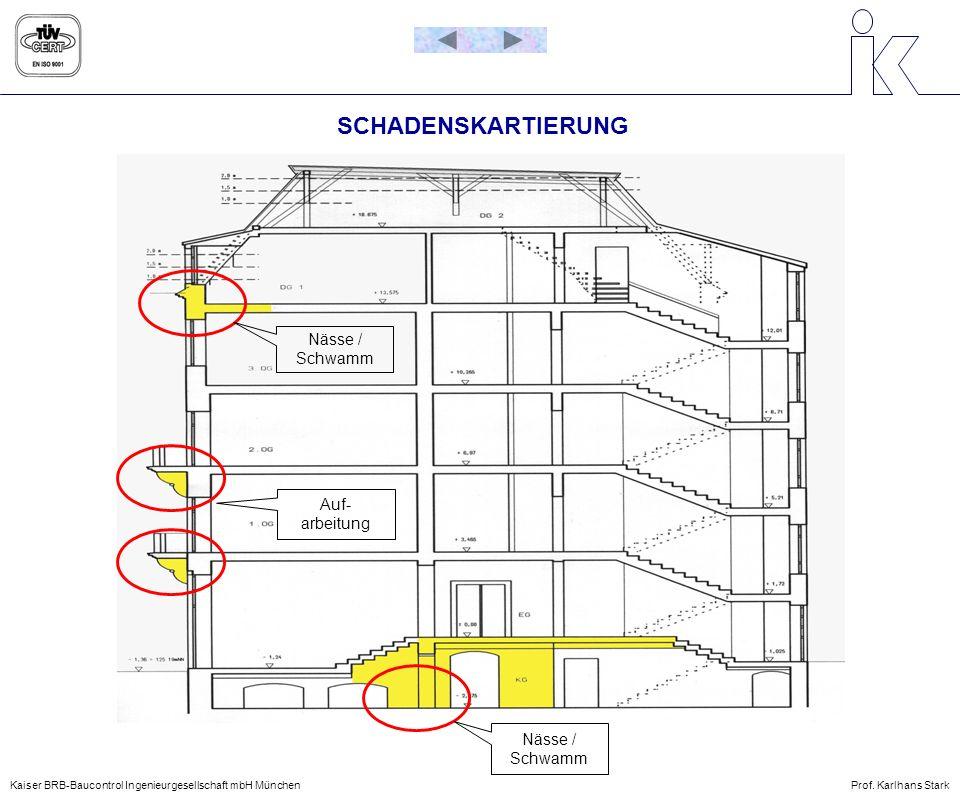 SCHADENSKARTIERUNG Nässe / Schwamm Auf- arbeitung Nässe / Schwamm Kaiser BRB-Baucontrol Ingenieurgesellschaft mbH MünchenProf. Karlhans Stark