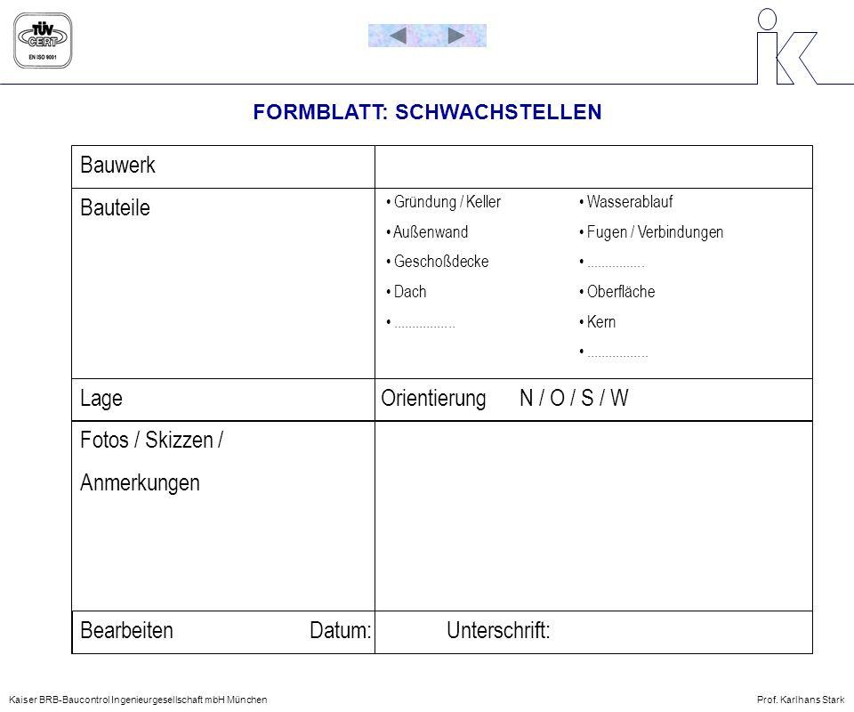 FORMBLATT: SCHWACHSTELLEN Bauwerk Bauteile Lage Orientierung N / O / S / W Fotos / Skizzen / Anmerkungen Bearbeiten Datum: Unterschrift: Gründung / Ke