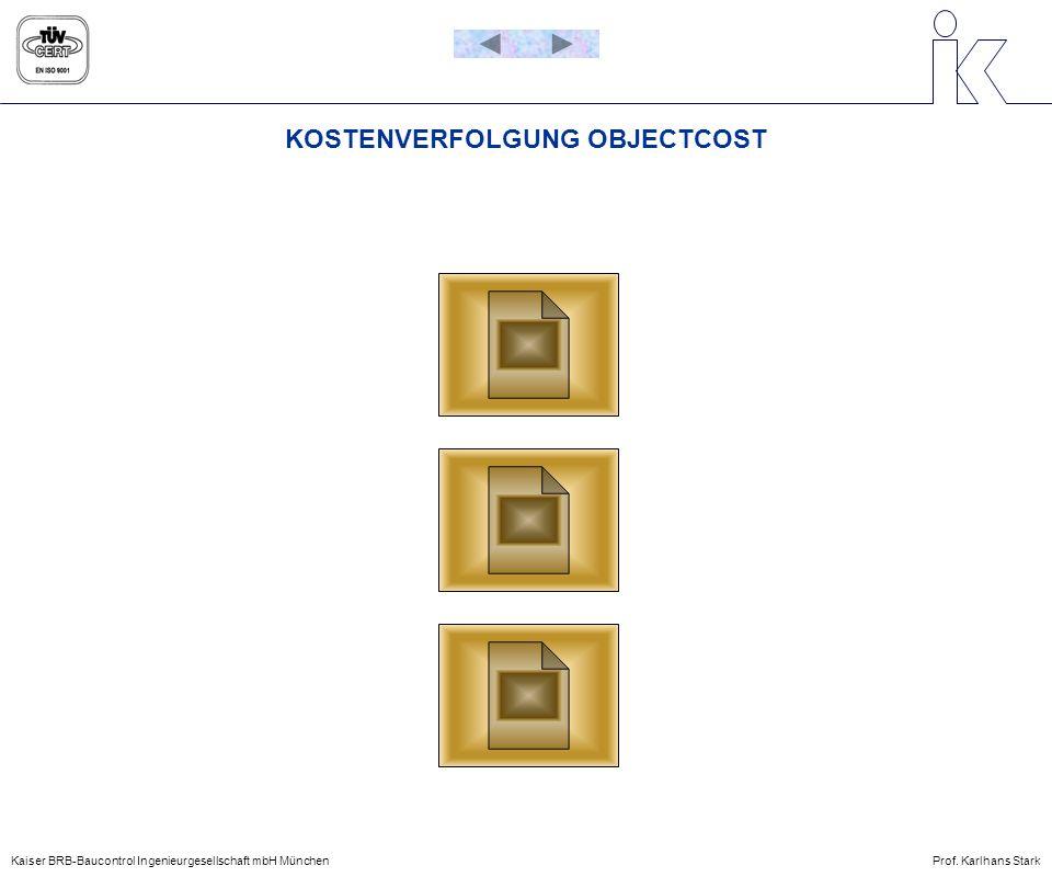 KOSTENVERFOLGUNG OBJECTCOST Kaiser BRB-Baucontrol Ingenieurgesellschaft mbH MünchenProf. Karlhans Stark