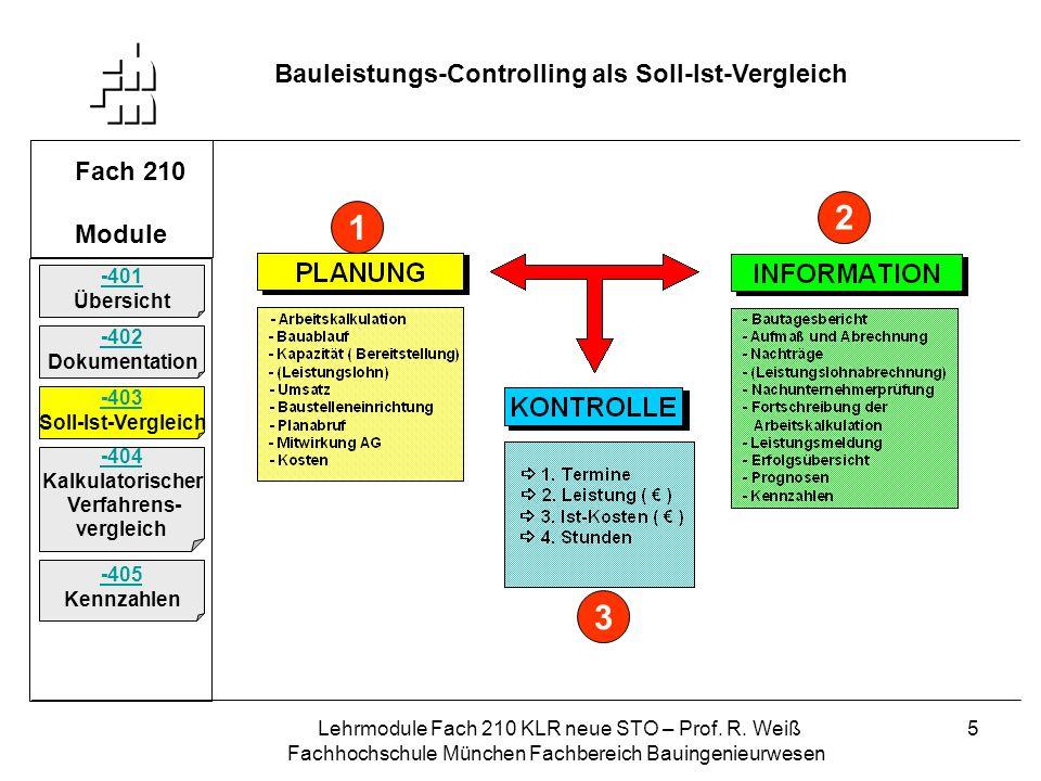 Lehrmodule Fach 210 KLR neue STO – Prof. R. Weiß Fachhochschule München Fachbereich Bauingenieurwesen 5 Fach 210 Module Bauleistungs-Controlling als S