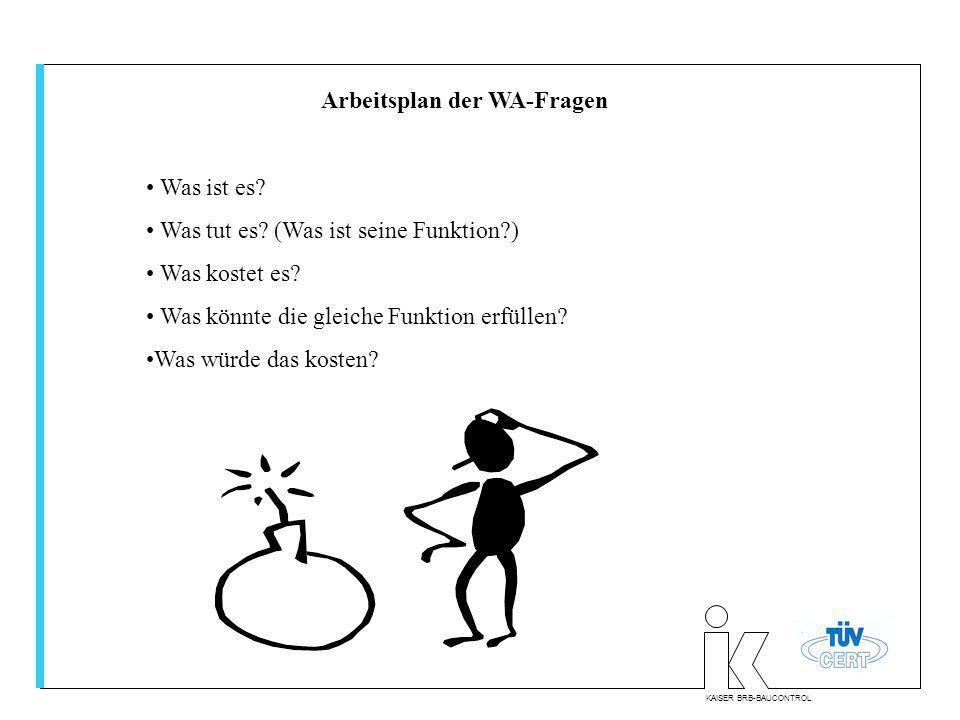 KAISER BRB-BAUCONTROL Arbeitsplan der WA-Fragen Was ist es? Was tut es? (Was ist seine Funktion?) Was kostet es? Was könnte die gleiche Funktion erfül