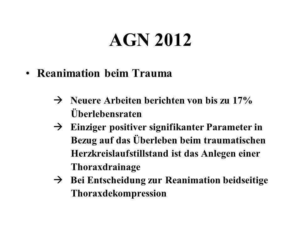 AGN 2012 Reanimation beim Trauma Neuere Arbeiten berichten von bis zu 17% Überlebensraten Einziger positiver signifikanter Parameter in Bezug auf das