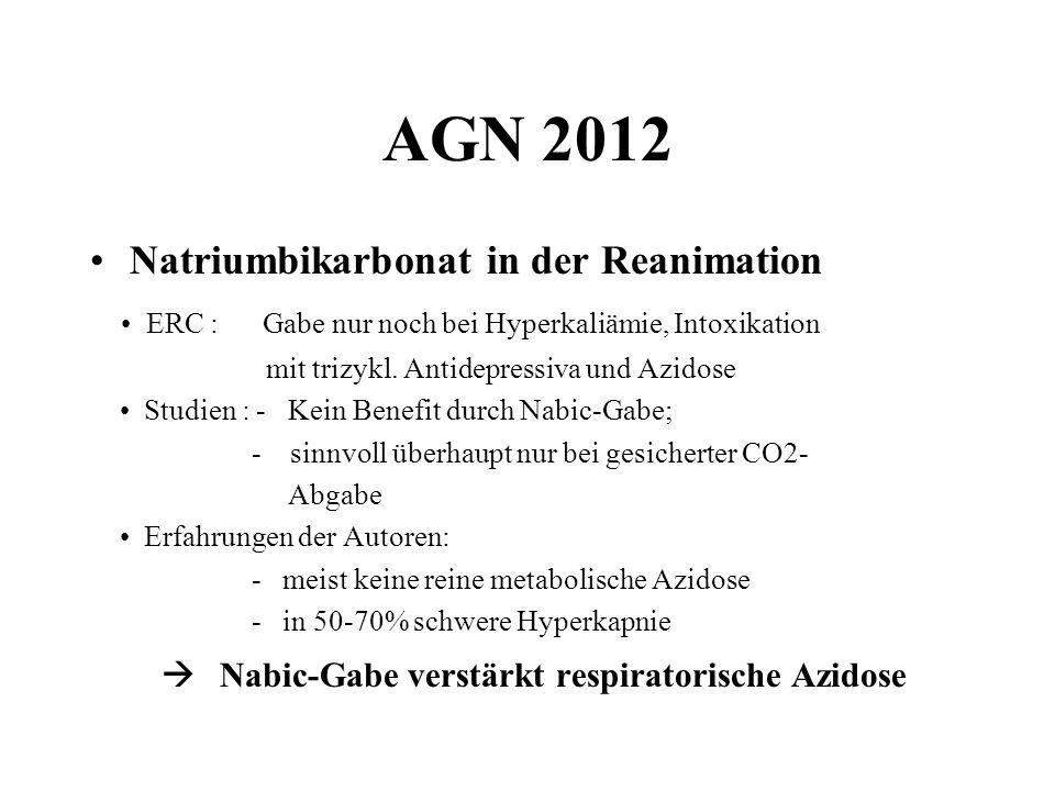 AGN 2012 Natriumbikarbonat in der Reanimation ERC : Gabe nur noch bei Hyperkaliämie, Intoxikation mit trizykl. Antidepressiva und Azidose Studien : -