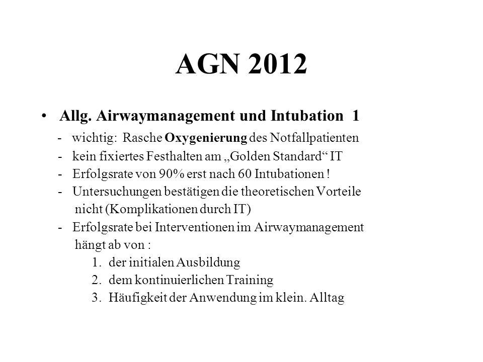 AGN 2012 Allg. Airwaymanagement und Intubation 1 - wichtig: Rasche Oxygenierung des Notfallpatienten - kein fixiertes Festhalten am Golden Standard IT