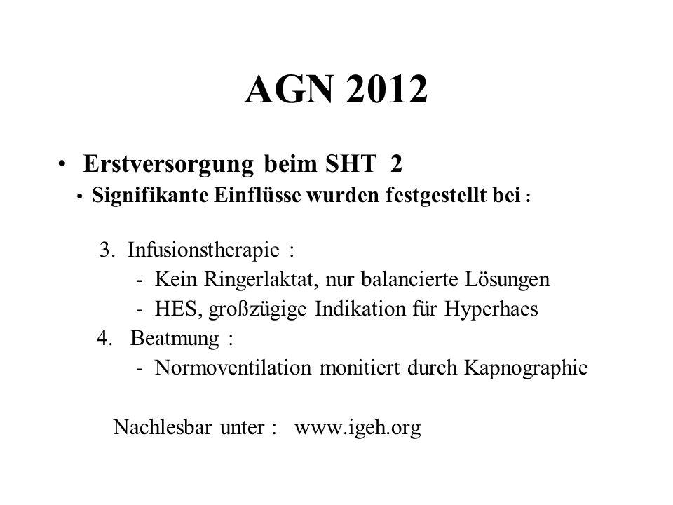 AGN 2012 Erstversorgung beim SHT 2 Signifikante Einflüsse wurden festgestellt bei : 3. Infusionstherapie : - Kein Ringerlaktat, nur balancierte Lösung