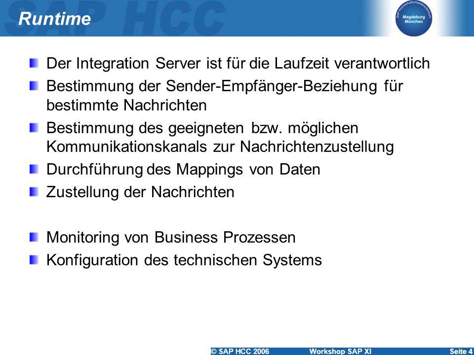 © SAP HCC 2006 Workshop SAP XISeite 4 Runtime Der Integration Server ist für die Laufzeit verantwortlich Bestimmung der Sender-Empfänger-Beziehung für