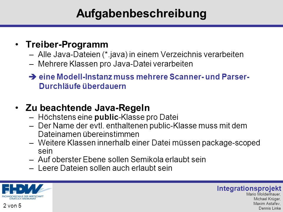 Mario Moldenhauer, Michael Krüger, Maxim Astafev, Dennis Linke Integrationsprojekt 2 von 5 Aufgabenbeschreibung Treiber-Programm –Alle Java-Dateien (*