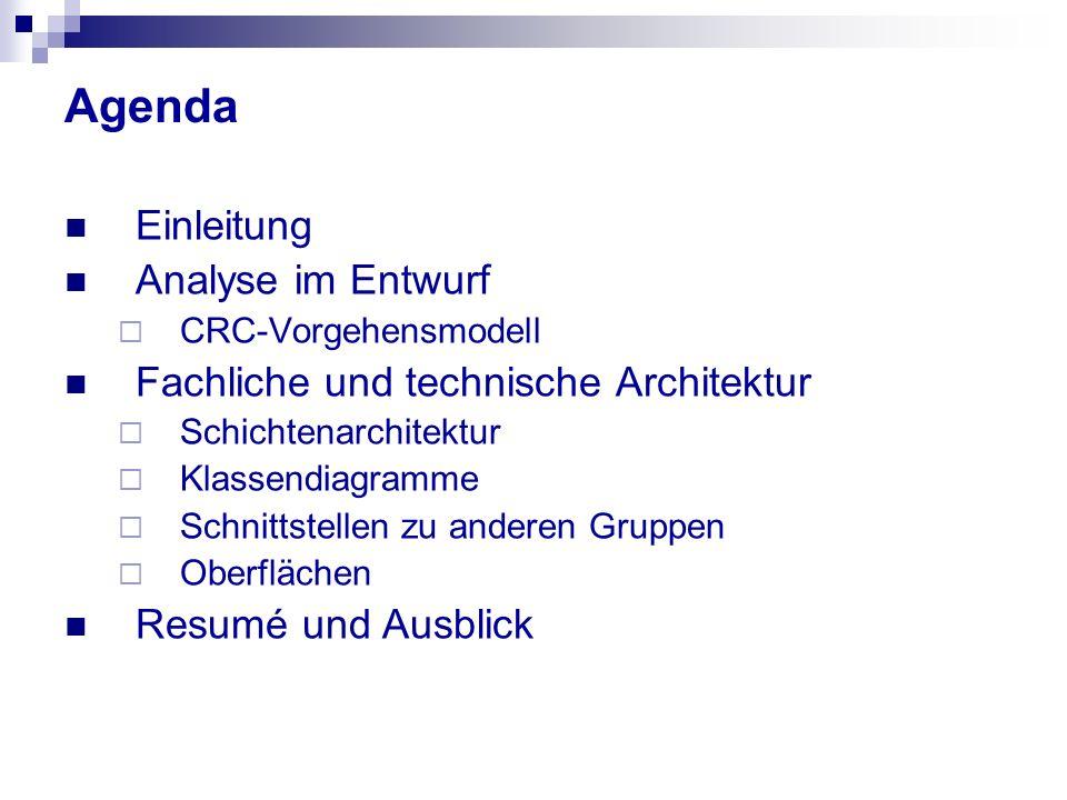 Agenda Einleitung Analyse im Entwurf CRC-Vorgehensmodell Fachliche und technische Architektur Schichtenarchitektur Klassendiagramme Schnittstellen zu anderen Gruppen Oberflächen Resumé und Ausblick