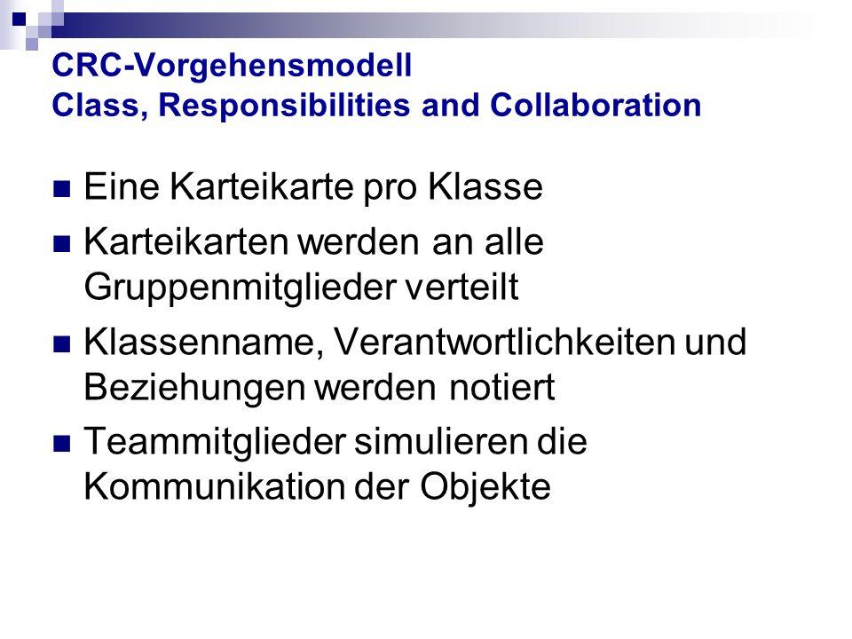 CRC-Vorgehensmodell Class, Responsibilities and Collaboration Eine Karteikarte pro Klasse Karteikarten werden an alle Gruppenmitglieder verteilt Klassenname, Verantwortlichkeiten und Beziehungen werden notiert Teammitglieder simulieren die Kommunikation der Objekte