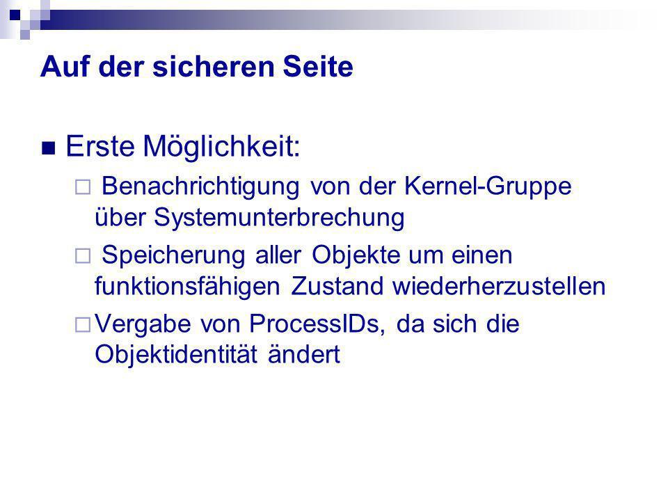 Auf der sicheren Seite Erste Möglichkeit: Benachrichtigung von der Kernel-Gruppe über Systemunterbrechung Speicherung aller Objekte um einen funktions