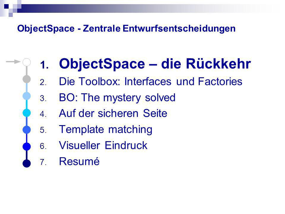 ObjectSpace - Zentrale Entwurfsentscheidungen 1. ObjectSpace – die Rückkehr 2. Die Toolbox: Interfaces und Factories 3. BO: The mystery solved 4. Auf