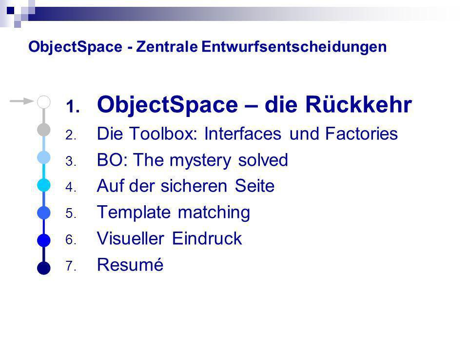 ObjectSpace – die Rückkehr System zur Verwaltung konkurrierender Zugriffe auf gemeinsame Ressourcen Zentrale Anlaufstelle für Informationsabfragen BusinessObjects sind z.B.: Rechnungen, Verträge, Kundendaten, usw… Der ObjectSpace ist ein Manager für BusinessObjects.
