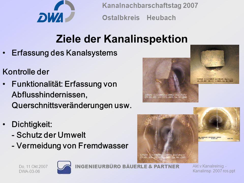 Kanalnachbarschaftstag 2007 Ostalbkreis Heubach Akt.v.Kanalreinig. - Kanalinsp. 2007 ros.ppt Do, 11.Okt.2007 DWA-03-06 INGENIEURBÜRO BÄUERLE & PARTNER