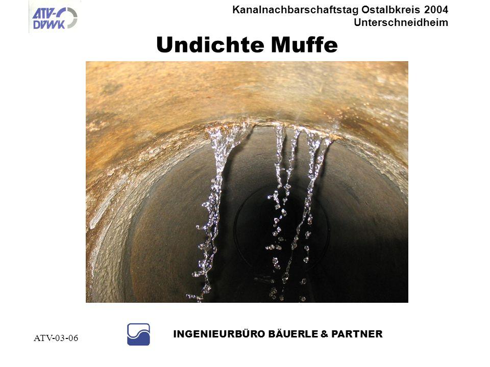 Kanalnachbarschaftstag Ostalbkreis 2004 Unterschneidheim INGENIEURBÜRO BÄUERLE & PARTNER ATV-03-06 Undichtigkeiten Muffen, Risse, Anschlussstutzen