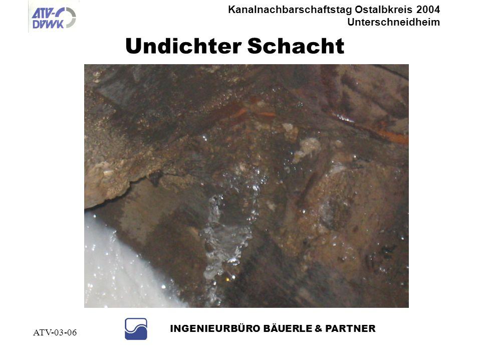 Kanalnachbarschaftstag Ostalbkreis 2004 Unterschneidheim INGENIEURBÜRO BÄUERLE & PARTNER ATV-03-06 Handsanierung im begehbaren Bereich
