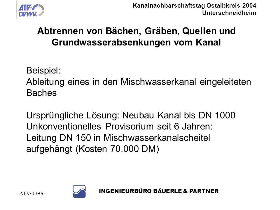 Kanalnachbarschaftstag Ostalbkreis 2004 Unterschneidheim INGENIEURBÜRO BÄUERLE & PARTNER ATV-03-06 Sanierter Schacht