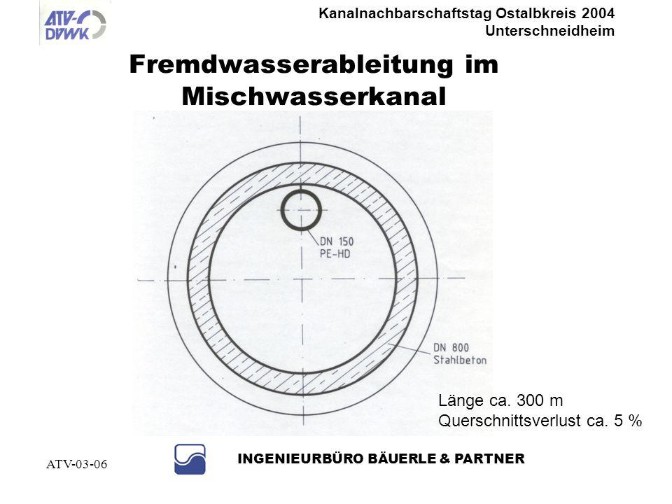 Kanalnachbarschaftstag Ostalbkreis 2004 Unterschneidheim INGENIEURBÜRO BÄUERLE & PARTNER ATV-03-06 Abtrennen von Bächen, Gräben, Quellen und Grundwass