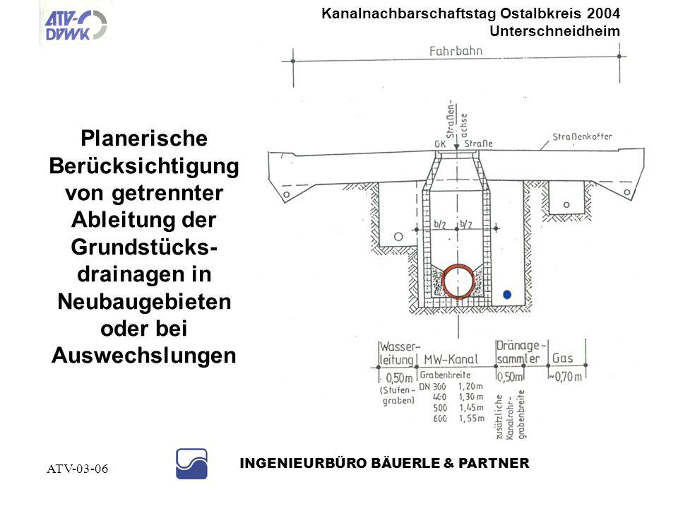 Kanalnachbarschaftstag Ostalbkreis 2004 Unterschneidheim INGENIEURBÜRO BÄUERLE & PARTNER ATV-03-06 Beispiel: Grundwasserabsenkung einer Bahnunterführu