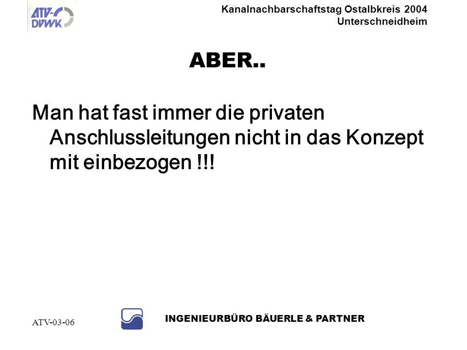 Kanalnachbarschaftstag Ostalbkreis 2004 Unterschneidheim INGENIEURBÜRO BÄUERLE & PARTNER ATV-03-06 NEIN, denn......bei undichten Kanälen kann auch Abw