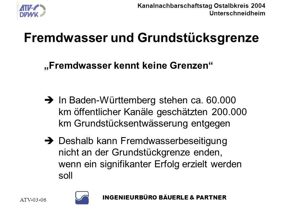 Kanalnachbarschaftstag Ostalbkreis 2004 Unterschneidheim INGENIEURBÜRO BÄUERLE & PARTNER ATV-03-06 Problem: Anschlussleitungen Fremdwasserbeseitigungs