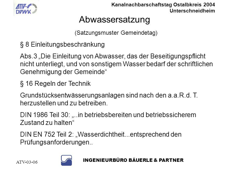 Kanalnachbarschaftstag Ostalbkreis 2004 Unterschneidheim INGENIEURBÜRO BÄUERLE & PARTNER ATV-03-06 Wer ist zuständig für die Grundstücksentwässerung ?