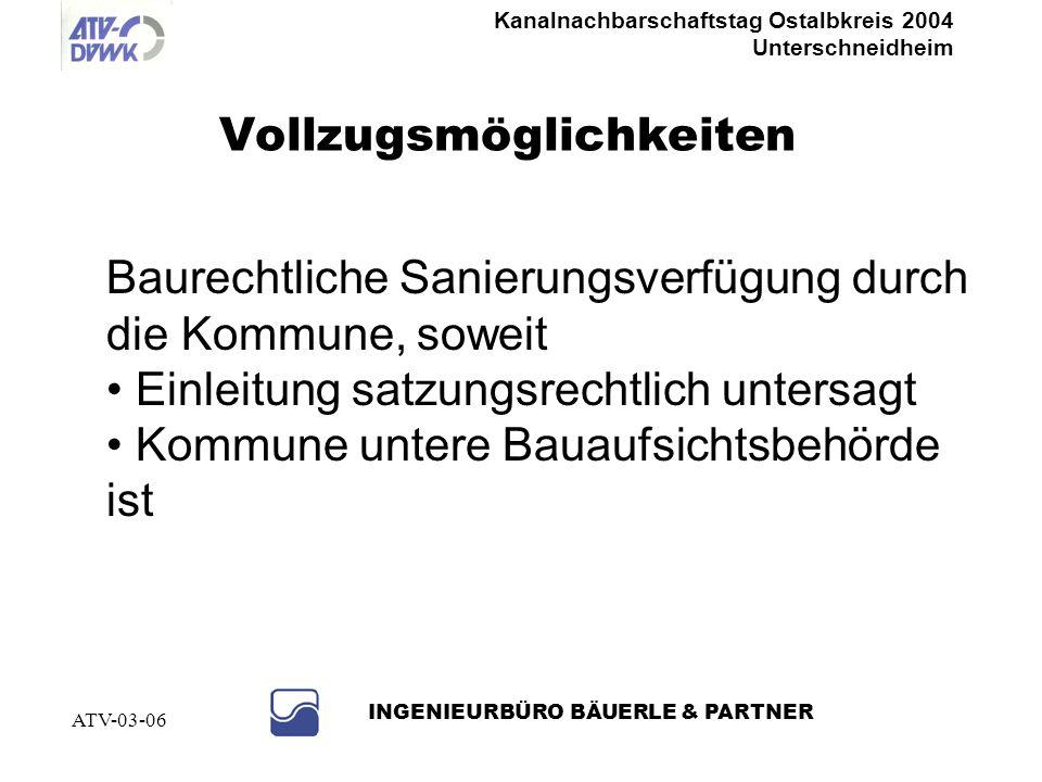 Kanalnachbarschaftstag Ostalbkreis 2004 Unterschneidheim INGENIEURBÜRO BÄUERLE & PARTNER ATV-03-06 Abwassersatzung (Satzungsmuster Gemeindetag) § 17 A