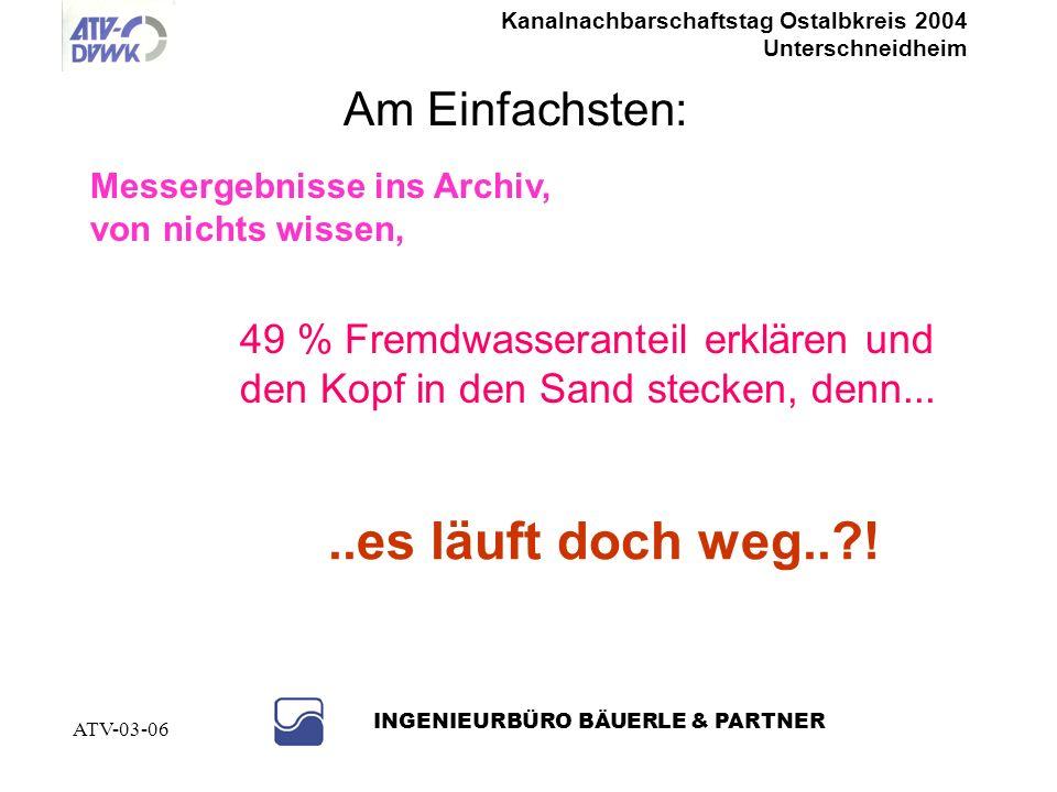 Kanalnachbarschaftstag Ostalbkreis 2004 Unterschneidheim INGENIEURBÜRO BÄUERLE & PARTNER ATV-03-06..es läuft doch weg..?.