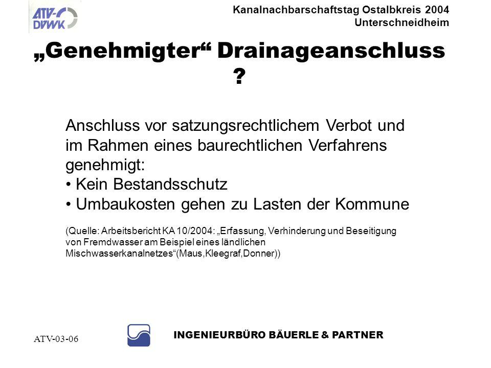 Kanalnachbarschaftstag Ostalbkreis 2004 Unterschneidheim INGENIEURBÜRO BÄUERLE & PARTNER ATV-03-06 Vollzugsmöglichkeiten Baurechtliche Sanierungsverfü