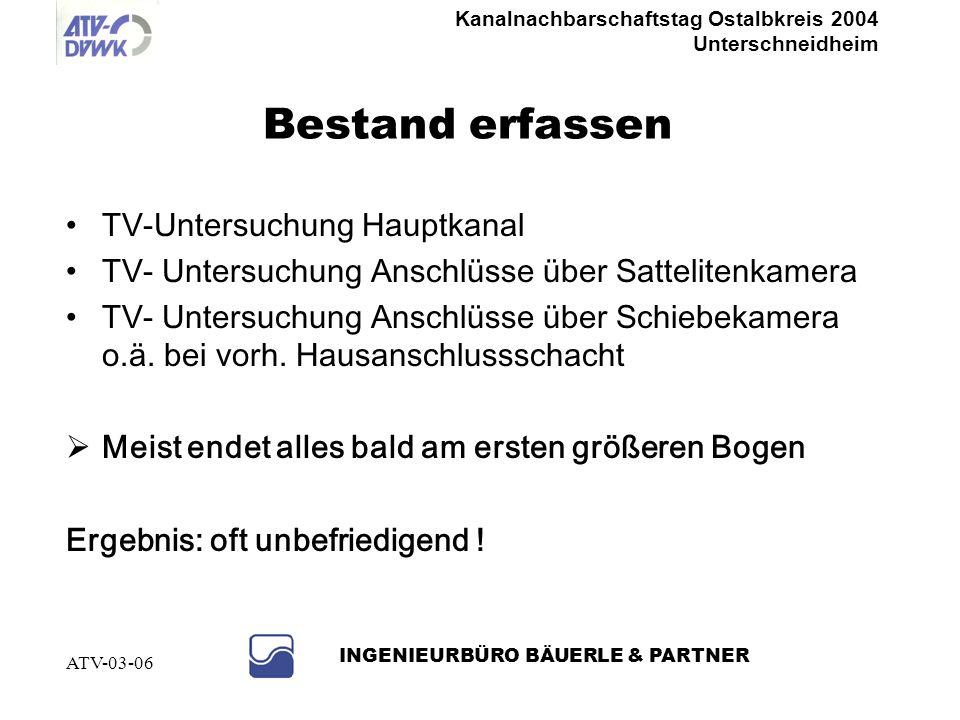 Kanalnachbarschaftstag Ostalbkreis 2004 Unterschneidheim INGENIEURBÜRO BÄUERLE & PARTNER ATV-03-06 Grundlagenermittlung Bestandspläne der Entwässerung