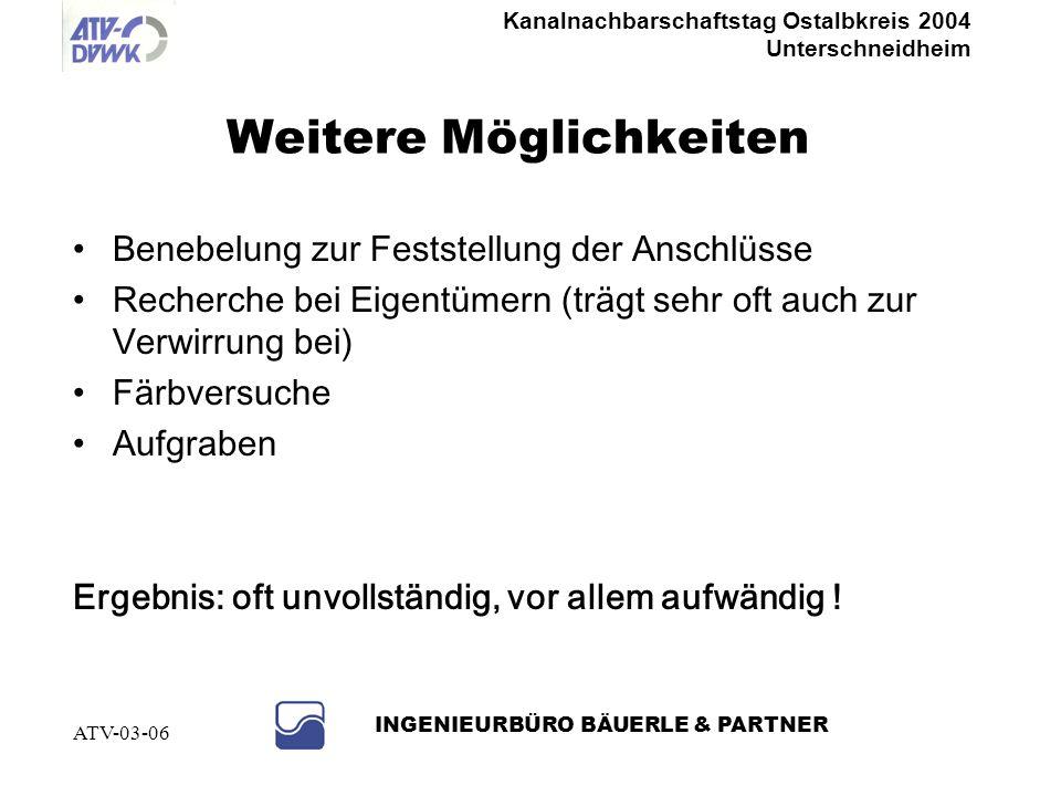 Kanalnachbarschaftstag Ostalbkreis 2004 Unterschneidheim INGENIEURBÜRO BÄUERLE & PARTNER ATV-03-06 Bestand erfassen TV-Untersuchung Hauptkanal TV- Unt