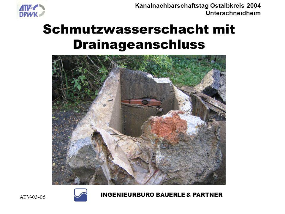 Kanalnachbarschaftstag Ostalbkreis 2004 Unterschneidheim INGENIEURBÜRO BÄUERLE & PARTNER ATV-03-06 Maßnahmen Abtrennen von Fehlanschlüssen direkt zu B