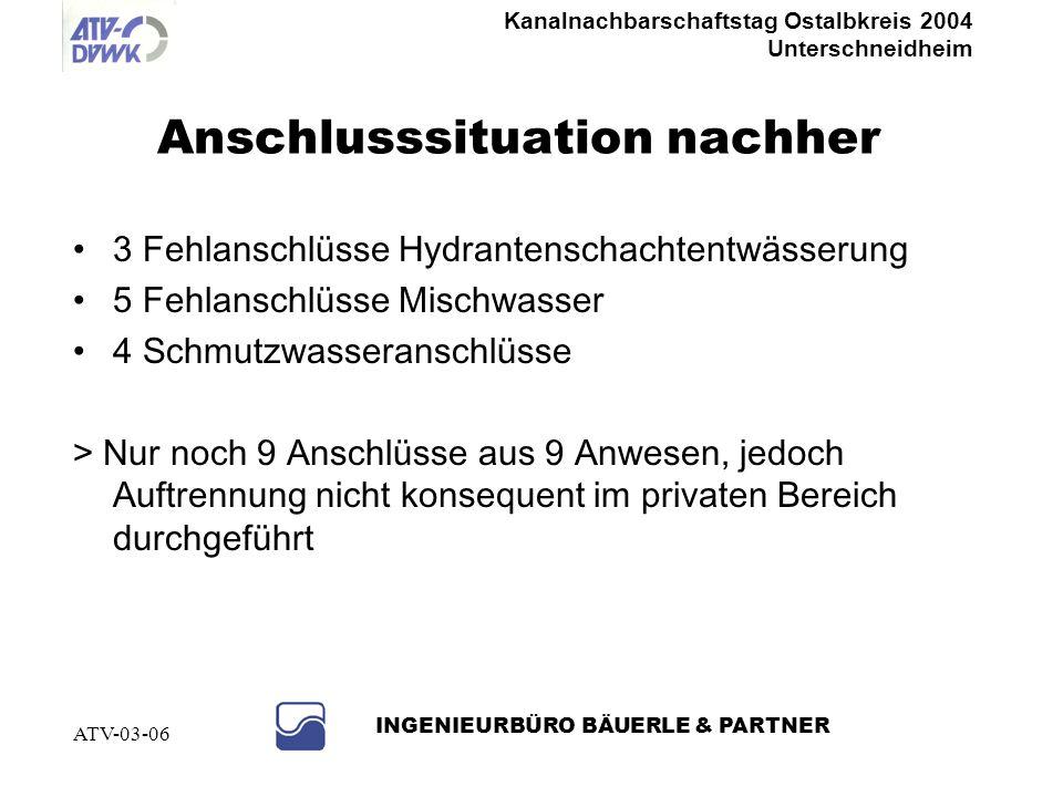 Kanalnachbarschaftstag Ostalbkreis 2004 Unterschneidheim INGENIEURBÜRO BÄUERLE & PARTNER ATV-03-06 Hausanschlussleitung