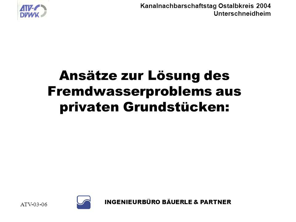 Kanalnachbarschaftstag Ostalbkreis 2004 Unterschneidheim INGENIEURBÜRO BÄUERLE & PARTNER ATV-03-06 Wie kann man das optimieren ? Beispiel Göttinger Mo