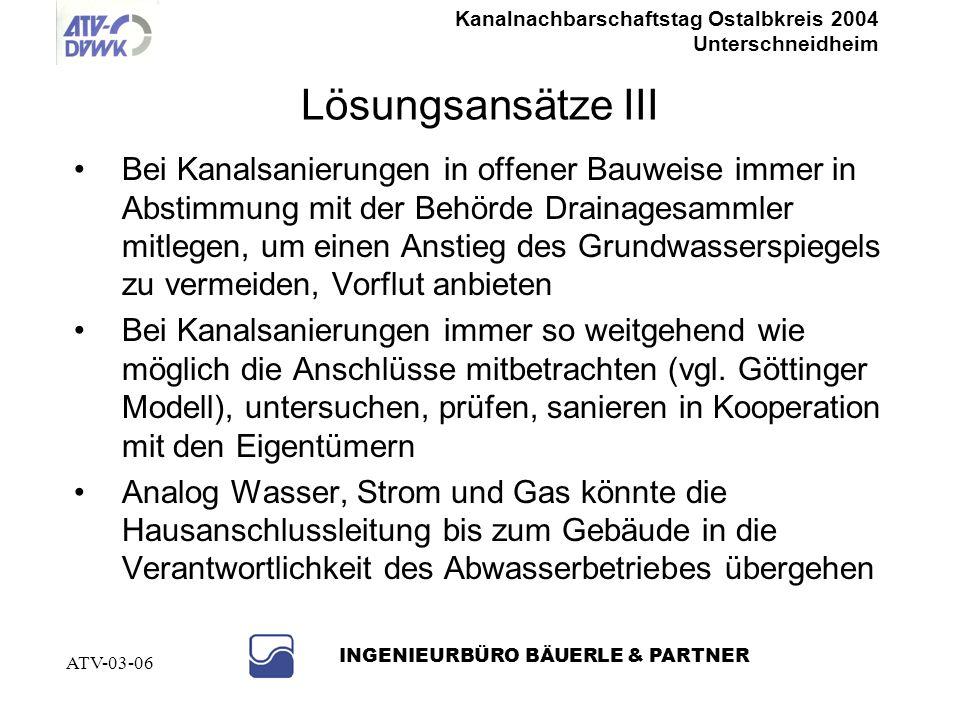 Kanalnachbarschaftstag Ostalbkreis 2004 Unterschneidheim INGENIEURBÜRO BÄUERLE & PARTNER ATV-03-06 Lösungsansätze II Konsequente Kontrolle und Abnahme