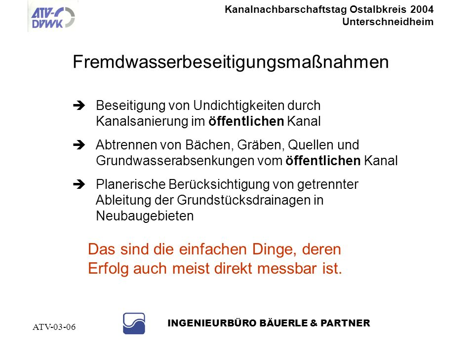 Kanalnachbarschaftstag Ostalbkreis 2004 Unterschneidheim INGENIEURBÜRO BÄUERLE & PARTNER ATV-03-06 Besser.... Ein Fremdwasserbeseitigungskonzept erste