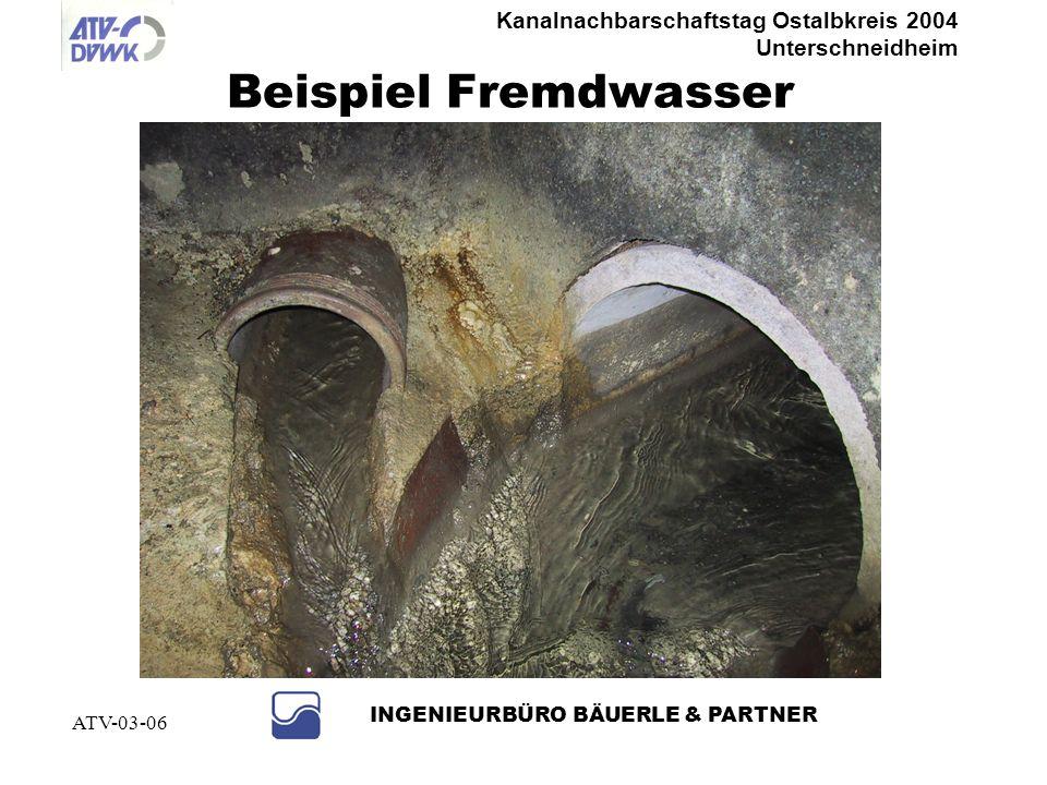 Kanalnachbarschaftstag Ostalbkreis 2004 Unterschneidheim INGENIEURBÜRO BÄUERLE & PARTNER ATV-03-06 Abwassersatzung (Satzungsmuster Gemeindetag) § 8 Einleitungsbeschränkung Abs.3 Die Einleitung von Abwasser, das der Beseitigungspflicht nicht unterliegt, und von sonstigem Wasser bedarf der schriftlichen Genehmigung der Gemeinde § 16 Regeln der Technik Grundstücksentwässerungsanlagen sind nach den a.a.R.d.