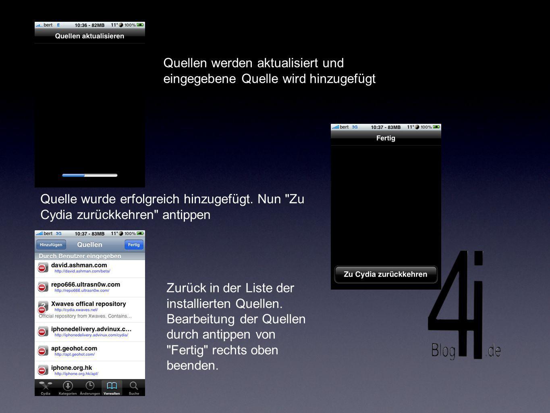 Software welche die neu installierte Quelle zur Verfügung stellt, findet man dann unter Änderungen am unteren Bildrand, oder man sucht sie direkt Zuletzt ultrasn0w wie ein Programm installieren und iPhone neustarten lassen.