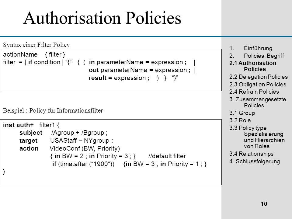 10 1.Einführung 2.Policies: Begriff 2.1 Authorisation Policies 2.2 Delegation Policies 2.3 Obligation Policies 2.4 Refrain Policies 3.