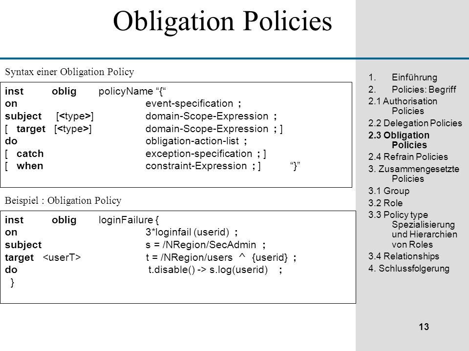 13 1.Einführung 2.Policies: Begriff 2.1 Authorisation Policies 2.2 Delegation Policies 2.3 Obligation Policies 2.4 Refrain Policies 3.