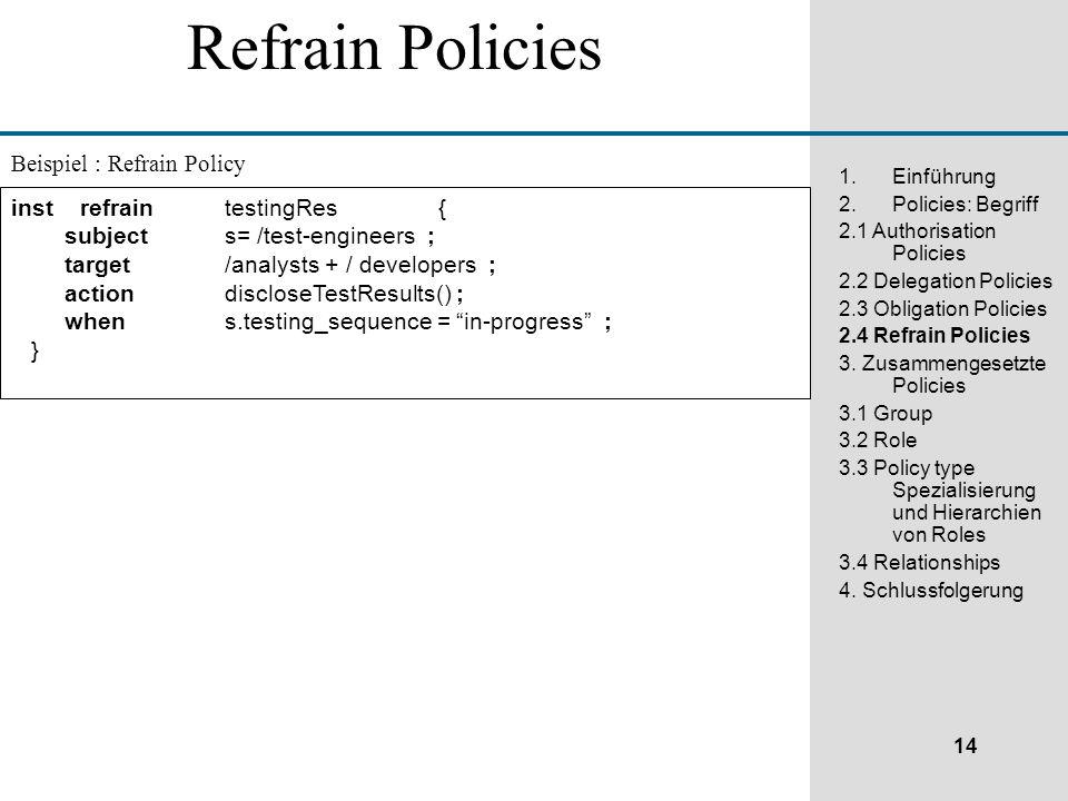 14 1.Einführung 2.Policies: Begriff 2.1 Authorisation Policies 2.2 Delegation Policies 2.3 Obligation Policies 2.4 Refrain Policies 3.
