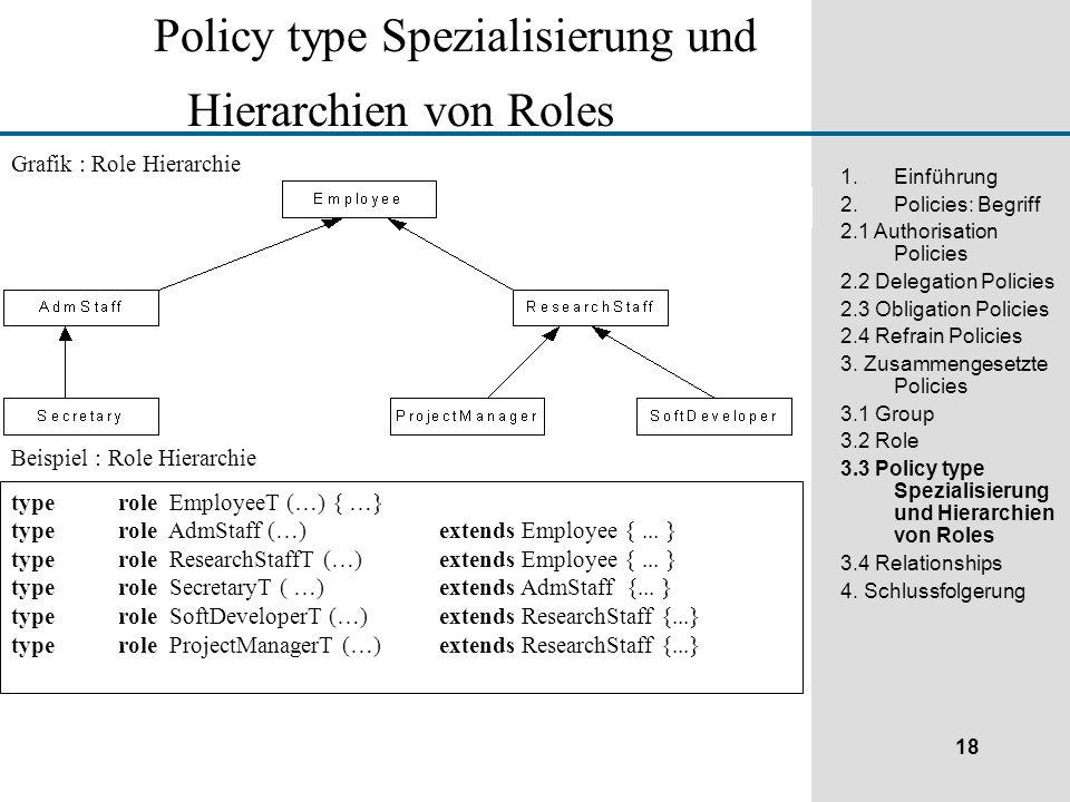 18 1.Einführung 2.Policies: Begriff 2.1 Authorisation Policies 2.2 Delegation Policies 2.3 Obligation Policies 2.4 Refrain Policies 3.