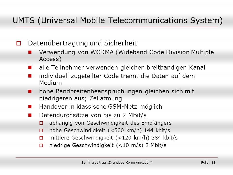 Seminarbeitrag Drahtlose KommunikationFolie: 15 UMTS (Universal Mobile Telecommunications System) Datenübertragung und Sicherheit Verwendung von WCDMA (Wideband Code Division Multiple Access) alle Teilnehmer verwenden gleichen breitbandigen Kanal individuell zugeteilter Code trennt die Daten auf dem Medium hohe Bandbreitenbeanspruchungen gleichen sich mit niedrigeren aus; Zellatmung Handover in klassische GSM-Netz möglich Datendurchsätze von bis zu 2 MBit/s abhängig von Geschwindigkeit des Empfängers hohe Geschwindigkeit (<500 km/h) 144 kbit/s mittlere Geschwindigkeit (<120 km/h) 384 kbit/s niedrige Geschwindigkeit (<10 m/s) 2 Mbit/s