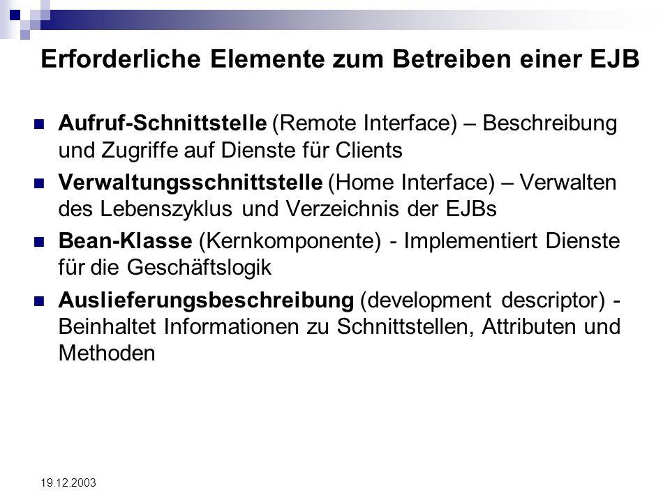 19.12.2003 Erforderliche Elemente zum Betreiben einer EJB Aufruf-Schnittstelle (Remote Interface) – Beschreibung und Zugriffe auf Dienste für Clients