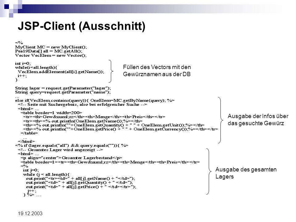19.12.2003 JSP-Client (Ausschnitt) Füllen des Vectors mit den Gewürznamen aus der DB Ausgabe der Infos über das gesuchte Gewürz Ausgabe des gesamten L