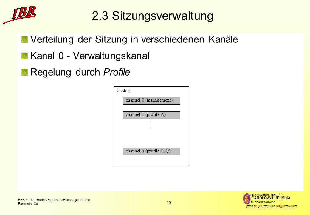 10 BEEP – The Blocks Extensible Exchange Protocol Fangming Xu TECHNISCHE UNIVERSITÄT ZU BRAUNSCHWEIG CAROLO-WILHELMINA Institut für Betriebssysteme und Rechnerverbund http://www.tu-bs.de http://www.ibr.cs.tu-bs.dehttp://www.tu-bs.dehttp://www.ibr.cs.tu-bs.de 2.3 Sitzungsverwaltung Verteilung der Sitzung in verschiedenen Kanäle Kanal 0 - Verwaltungskanal Regelung durch Profile session.
