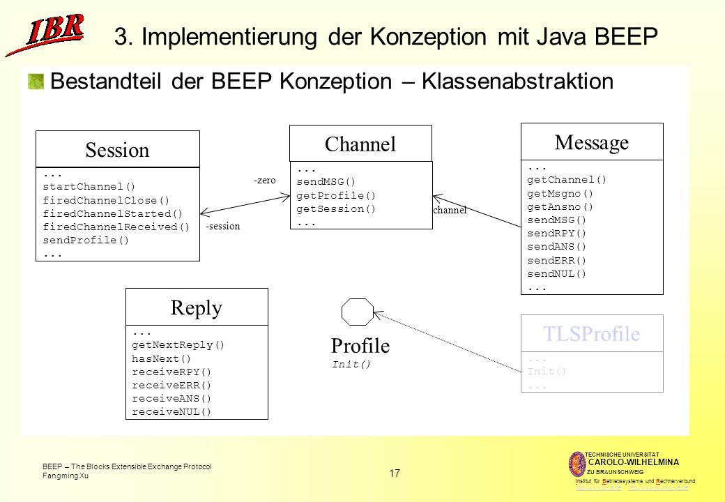 17 BEEP – The Blocks Extensible Exchange Protocol Fangming Xu TECHNISCHE UNIVERSITÄT ZU BRAUNSCHWEIG CAROLO-WILHELMINA Institut für Betriebssysteme und Rechnerverbund http://www.tu-bs.de http://www.ibr.cs.tu-bs.dehttp://www.tu-bs.dehttp://www.ibr.cs.tu-bs.de 3.