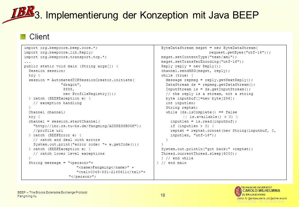 18 BEEP – The Blocks Extensible Exchange Protocol Fangming Xu TECHNISCHE UNIVERSITÄT ZU BRAUNSCHWEIG CAROLO-WILHELMINA Institut für Betriebssysteme und Rechnerverbund http://www.tu-bs.de http://www.ibr.cs.tu-bs.dehttp://www.tu-bs.dehttp://www.ibr.cs.tu-bs.de 3.
