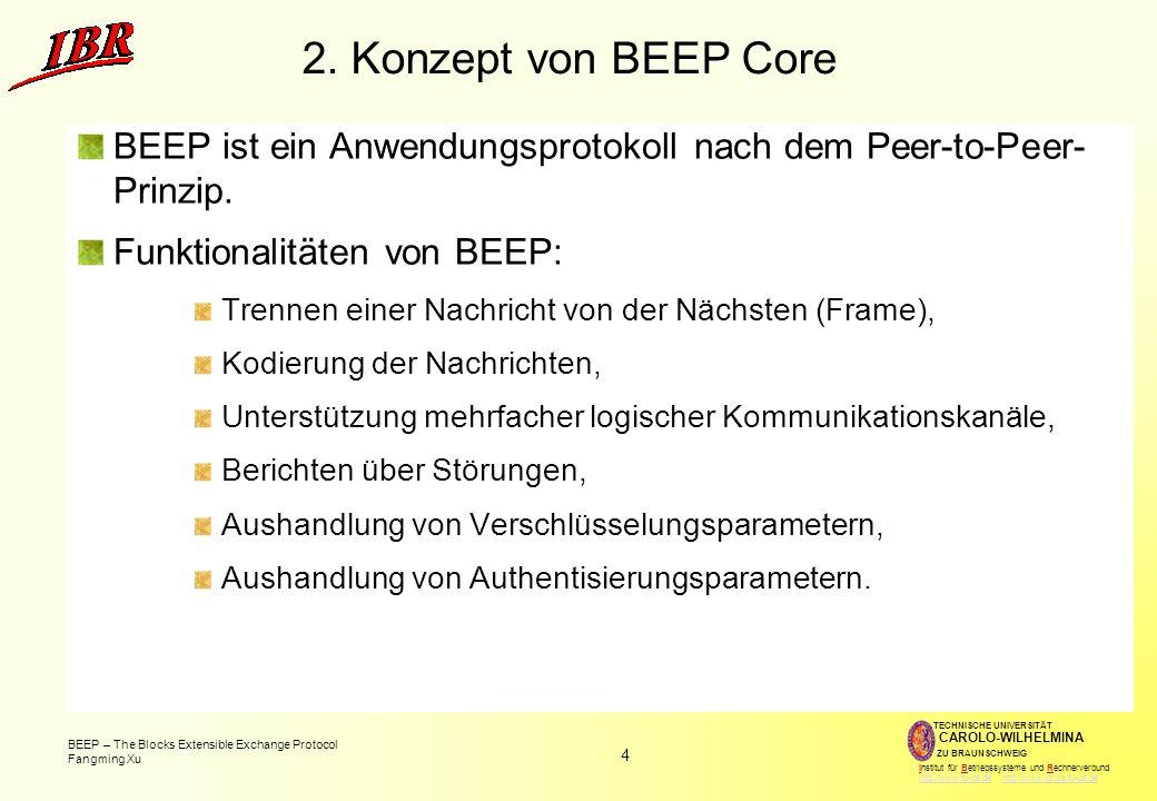 4 BEEP – The Blocks Extensible Exchange Protocol Fangming Xu TECHNISCHE UNIVERSITÄT ZU BRAUNSCHWEIG CAROLO-WILHELMINA Institut für Betriebssysteme und Rechnerverbund http://www.tu-bs.de http://www.ibr.cs.tu-bs.dehttp://www.tu-bs.dehttp://www.ibr.cs.tu-bs.de 2.