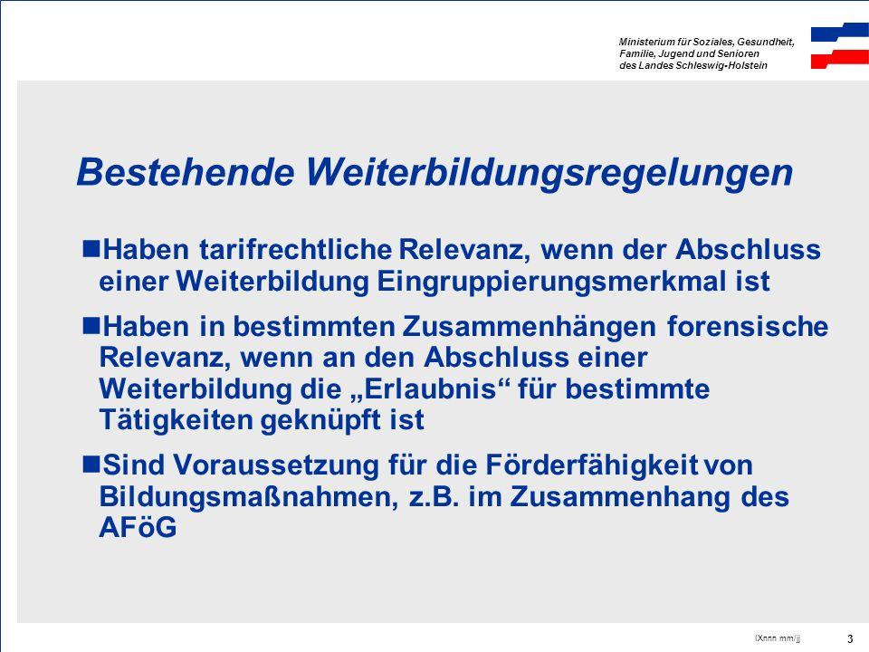 Ministerium für Soziales, Gesundheit, Familie, Jugend und Senioren des Landes Schleswig-Holstein IXnnn mm/jj 14 Mögliche Konsequenzen und Alternativen Zertifizierung von Bildungsmaßnahmen zur Selbstverwaltungsaufgabe machen Fort- und Weiterbildungspflicht in Berufsord- nungen normieren und dadurch die Eigen- verantwortung der Berufsangehörigen stärken Zertifizierung und Qualitätssicherung zur Pflicht von Bildungsanbietern machen.......